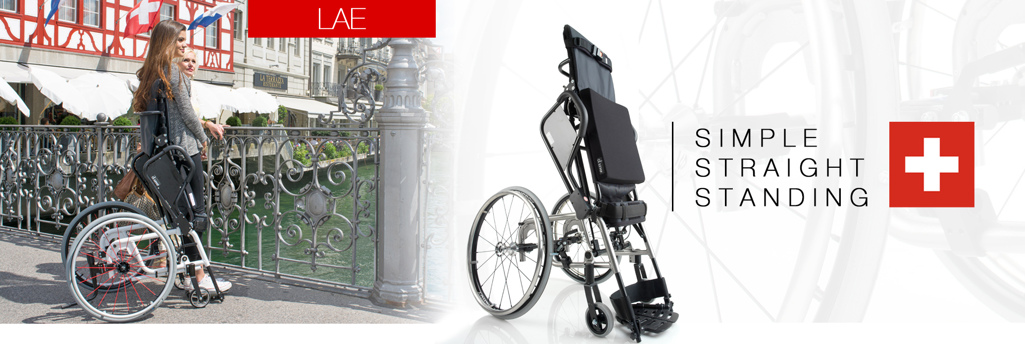 Manual stand, manual drive LAE wheelchair